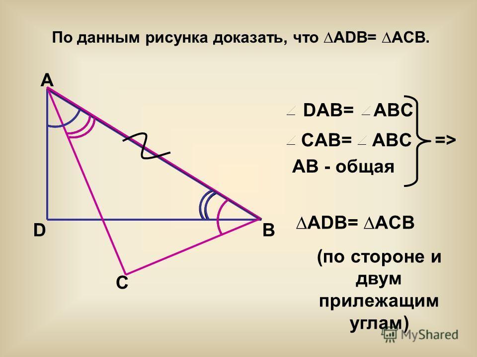 CAB= ABC DAB= ABC По данным рисунка доказать, что ADB= ACB. A D C B AB - общая => ADB= ACB (по стороне и двум прилежащим углам)