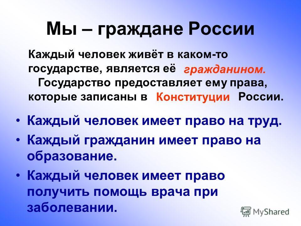 Мы – граждане России Каждый человек имеет право на труд. Каждый гражданин имеет право на образование. Каждый человек имеет право получить помощь врача при заболевании. Каждый человек живёт в каком-то государстве, является её Государство предоставляет