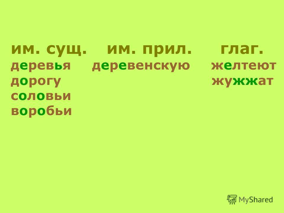 им. сущ. им. прил. глаг. деревья деревенскую желтеют дорогу жужжат соловьи воробьи
