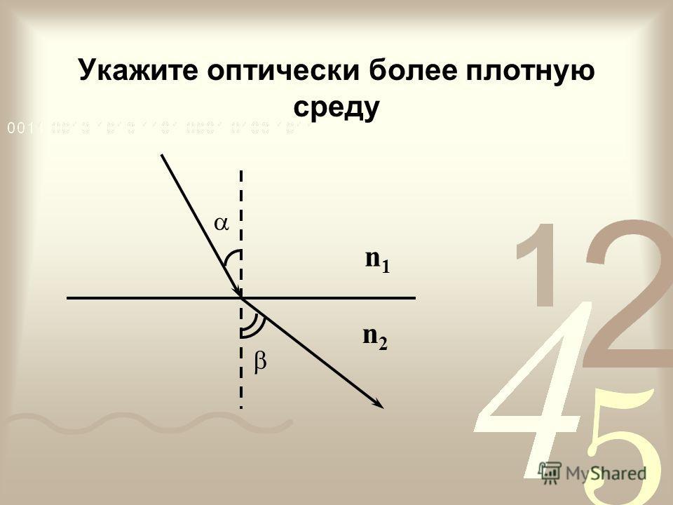 Укажите оптически более плотную среду n1n1 n2n2