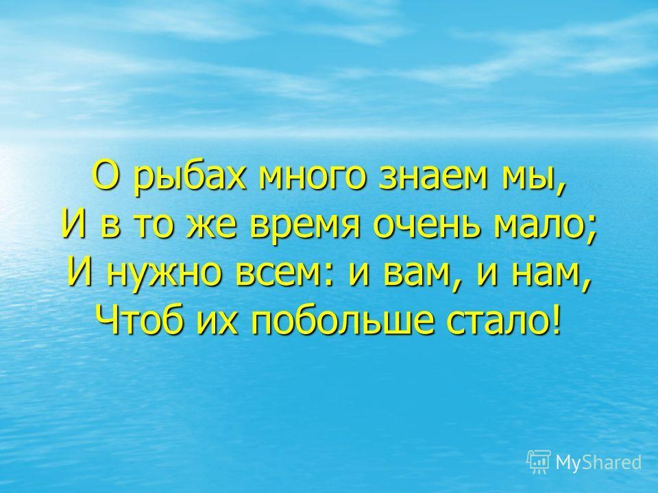 О рыбах много знаем мы, И в то же время очень мало; И нужно всем: и вам, и нам, Чтоб их побольше стало!