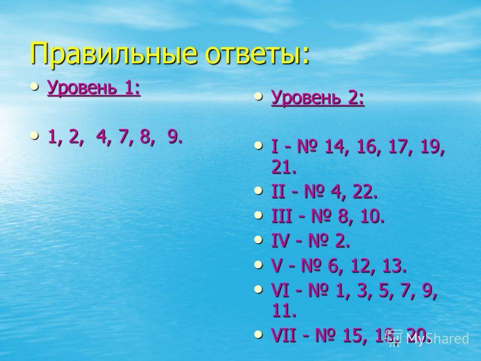 Правильные ответы: Уровень 1: Уровень 1: 1, 2, 4, 7, 8, 9. 1, 2, 4, 7, 8, 9. Уровень 2: Уровень 2: I - 14, 16, 17, 19, 21. I - 14, 16, 17, 19, 21. II - 4, 22. II - 4, 22. III - 8, 10. III - 8, 10. IV - 2. IV - 2. V - 6, 12, 13. V - 6, 12, 13. VI - 1,