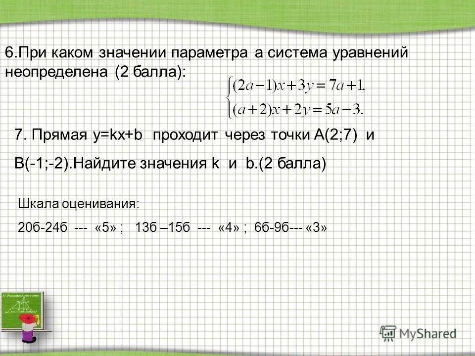 6.При каком значении параметра a система уравнений неопределена (2 балла): 7. Прямая y=kx+b проходит через точки A(2;7) и B(-1;-2).Найдите значения k и b.(2 балла) Шкала оценивания: 20б-24б --- «5» ; 13б –15б --- «4» ; 6б-9б--- «3»