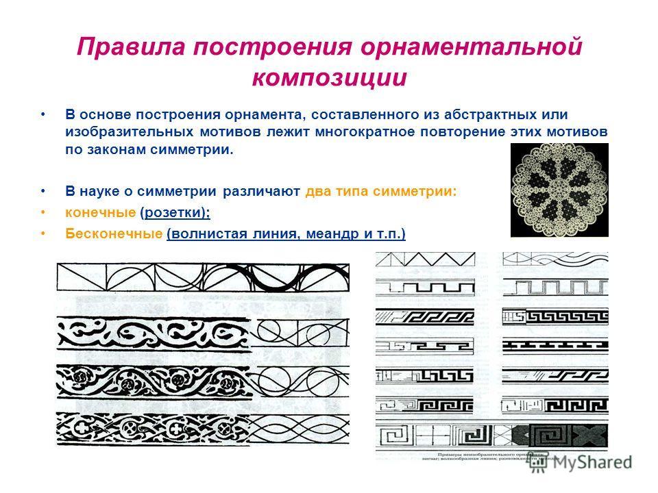 Правила построения орнаментальной композиции В основе построения орнамента, составленного из абстрактных или изобразительных мотивов лежит многократное повторение этих мотивов по законам симметрии. В науке о симметрии различают два типа симметрии: ко