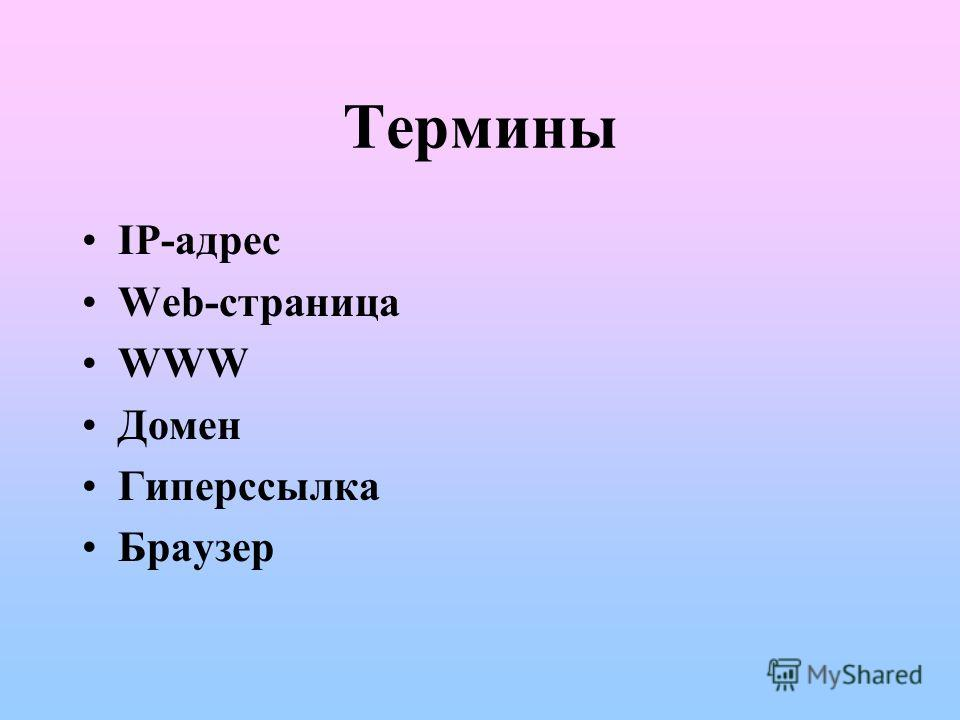 Термины IP-адрес Web-страница WWW Домен Гиперссылка Браузер