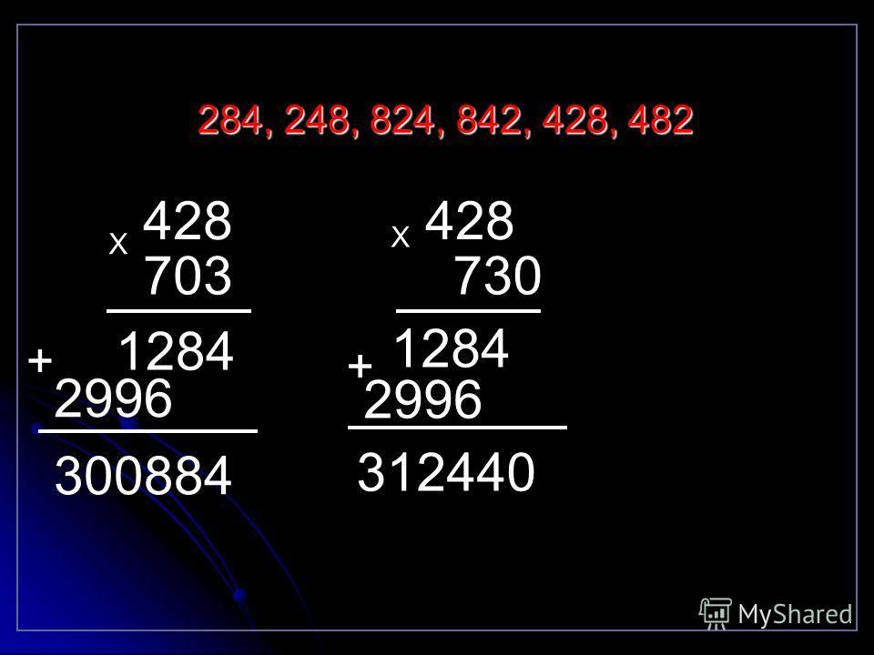 Из цифр 2,8,4 составьте трёхзначные числа так, чтобы цифры в записи числа не повторялись