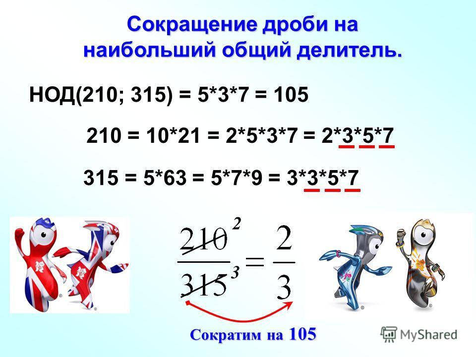 Сокращение дроби на наибольший общий делитель. 2 3 НОД(210; 315) 210 315 = 10*21= 2*5*3*7= 2*3*5*7 = 5*63= 5*7*9= 3*3*5*7 = 5*3*7 = 105 Сократим на 105