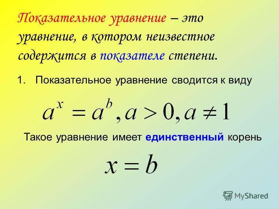 Показательное уравнение – это уравнение, в котором неизвестное содержится в показателе степени. 1.Показательное уравнение сводится к виду Такое уравнение имеет единственный корень
