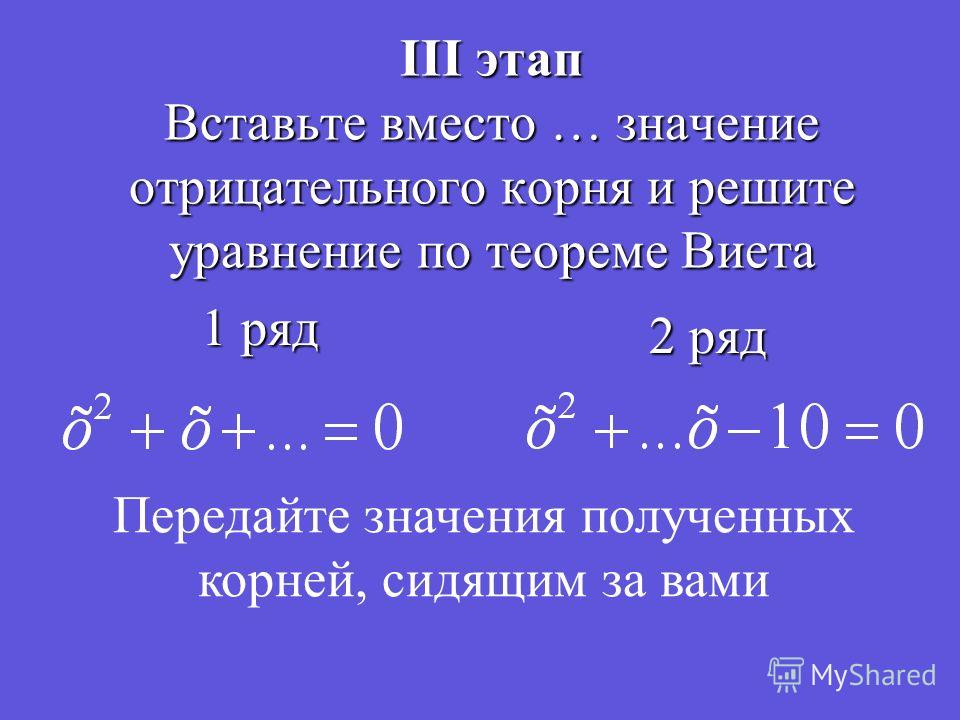 III этап Вставьте вместо … значение отрицательного корня и решите уравнение по теореме Виета 1 ряд 2 ряд Передайте значения полученных корней, сидящим за вами