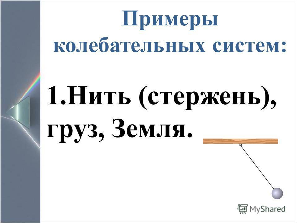 Примеры колебательных систем: 1.Нить (стержень), груз, Земля.