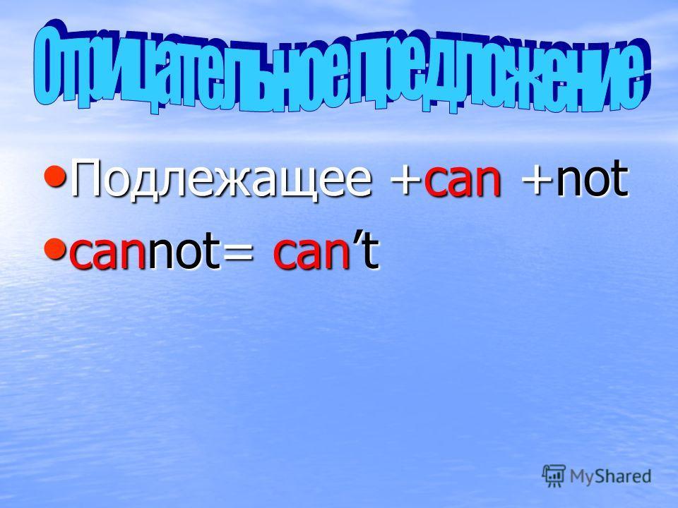 Подлежащее +can +not Подлежащее +can +not cannot= cant cannot= cant