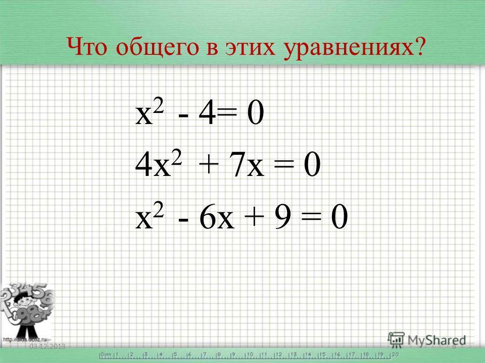 Что общего в этих уравнениях? х 2 - 4= 0 4х 2 + 7х = 0 х 2 - 6х + 9 = 0 03.12.20136