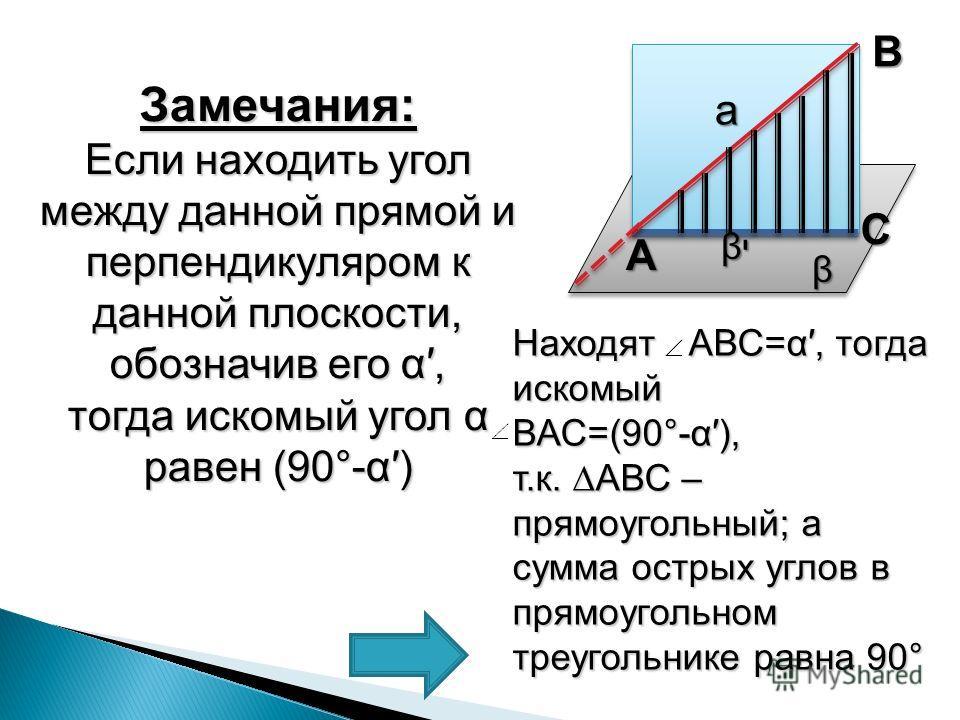 Замечания: Если находить угол между данной прямой и перпендикуляром к данной плоскости, обозначив его α, тогда искомый уголα равен (90°-α) тогда искомый угол α равен (90°-α) β βיβיβיβי а А С В Находят АВС=α, тогда искомый ВАС=(90°-α), т.к. АВС – прям