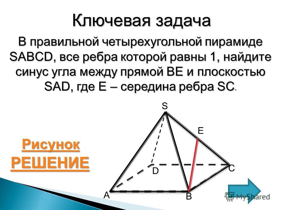 Ключевая задача В правильной четырехугольной пирамиде SABCD, все ребра которой равны 1, найдите синус угла между прямой BE и плоскостью SAD, где Е – середина ребра SC В правильной четырехугольной пирамиде SABCD, все ребра которой равны 1, найдите син