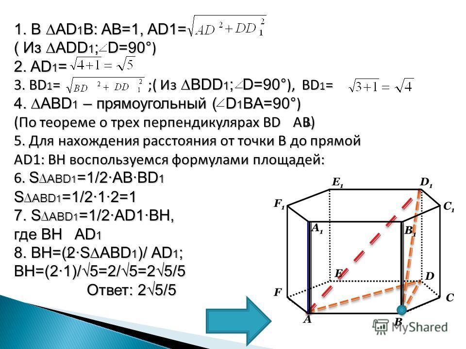 1. В AD 1 B: AB=1, AD1= ( Из ADD 1 ; D=90 °) 2. AD 1 = 3. BD 1 = ;( Из BDD 1 ; D=90 °), BD 1 = 4. ABD 1 – прямоугольный ( D 1 BA=90 °) (По теореме о трех перпендикулярах BD AB) 5. Для нахождения расстояния от точки В до прямой AD1: BH воспользуемся ф