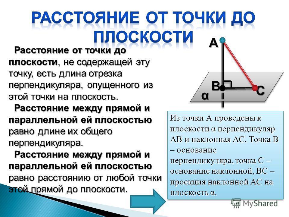 Расстояние от точки до плоскости, не содержащей эту точку, есть длина отрезка перпендикуляра, опущенного из этой точки на плоскость. Расстояние от точки до плоскости, не содержащей эту точку, есть длина отрезка перпендикуляра, опущенного из этой точк