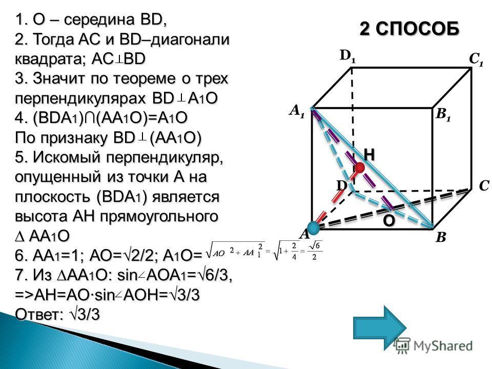 2 СПОСОБ 1. О – середина BD, 2. Тогда AC и BD–диагонали квадрата; AC BD 3. Значит по теореме о трех перпендикулярах BD A 1 О 4. (BDA 1 )(АА 1 О)=А 1 О По признаку BD (АA 1 О) 5. Искомый перпендикуляр, опущенный из точки А на плоскость (BDA 1 ) являет