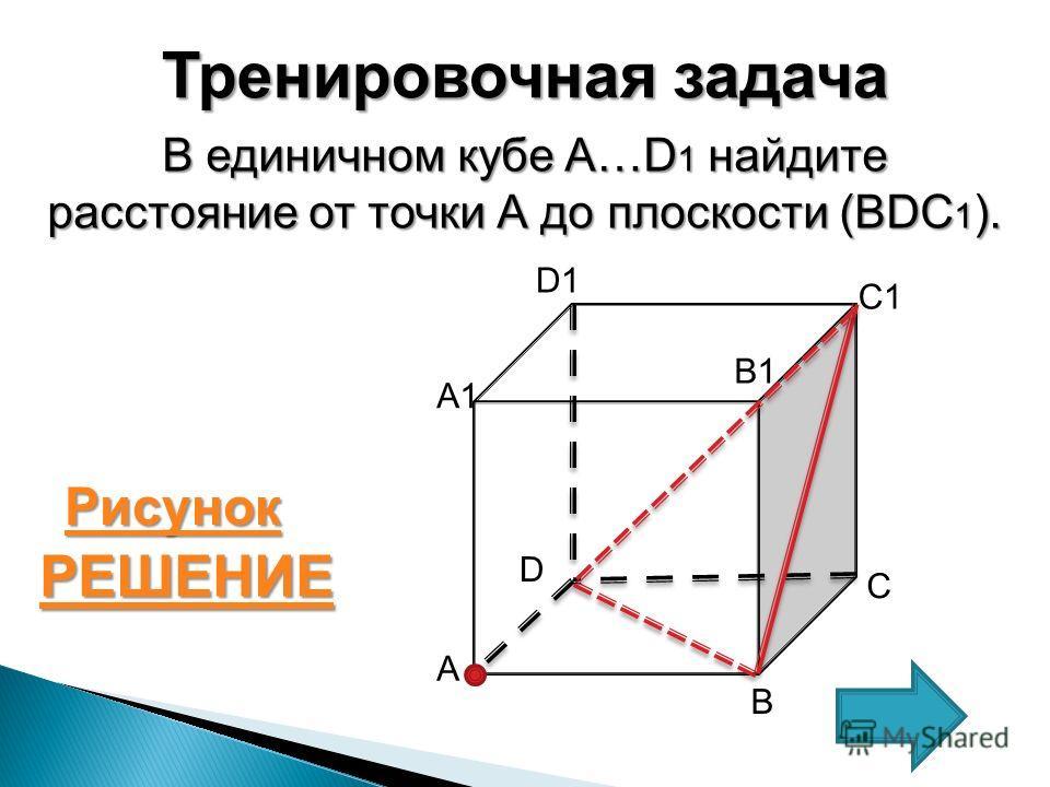 Тренировочная задача В единичном кубе A…D 1 найдите расстояние от точки А до плоскости (BDC 1 ). С А1А1 А В D D1 B1 C1 РЕШЕНИЕ Рисунок