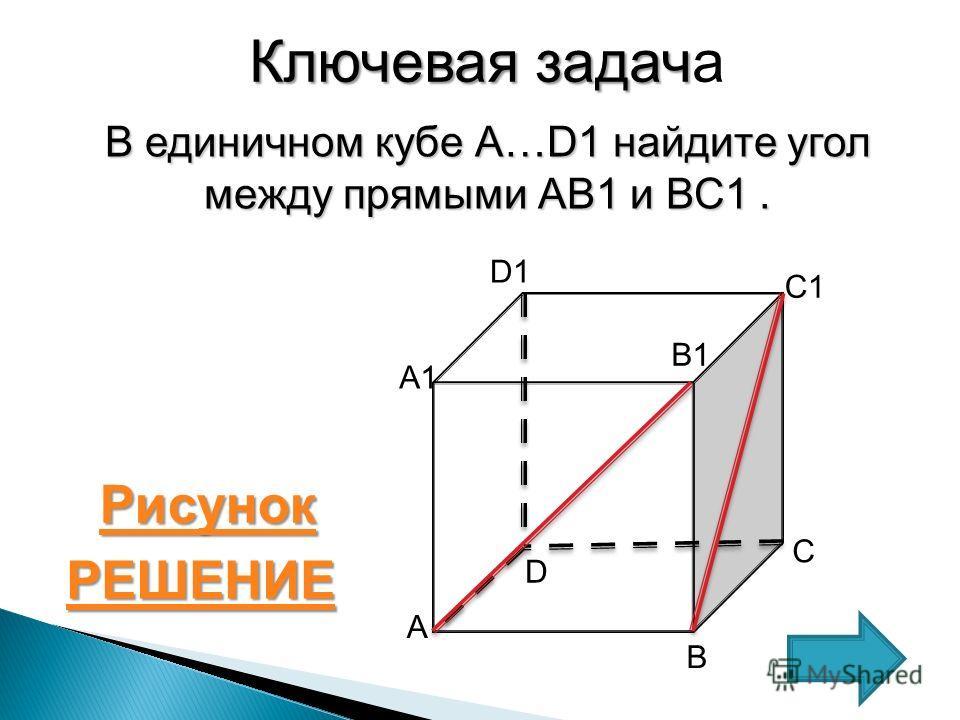 Ключевая задач Ключевая задача В единичном кубе А…D1 найдите угол между прямыми АВ1 и ВС1. С А1 А В D D1D1 B1B1 C1C1 РЕШЕНИЕ Рисунок