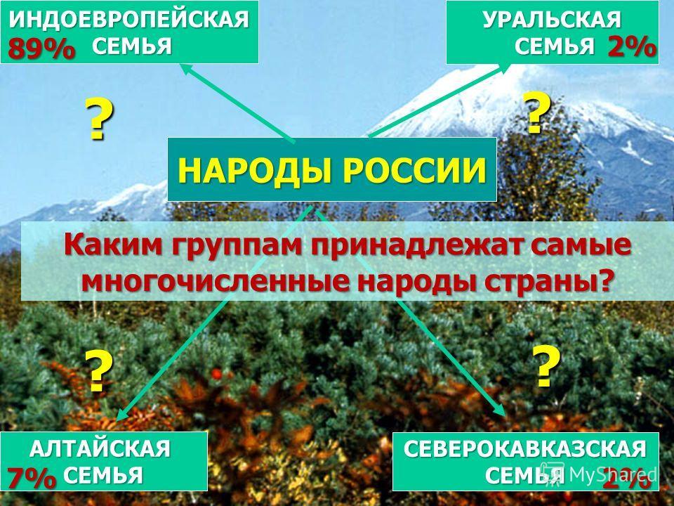 НАРОДЫ РОССИИ ИНДОЕВРОПЕЙСКАЯ СЕМЬЯ СЕМЬЯ АЛТАЙСКАЯСЕМЬЯ СЕВЕРОКАВКАЗСКАЯСЕМЬЯ УРАЛЬСКАЯ ? ? ? ? 7% 2% 89% 2% Каким группам принадлежат самые многочисленные народы страны?
