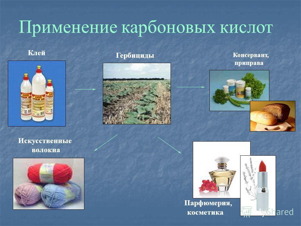 Применение карбоновых кислот Клей Гербициды Консервант, приправа Парфюмерия, косметика Искусственные волокна