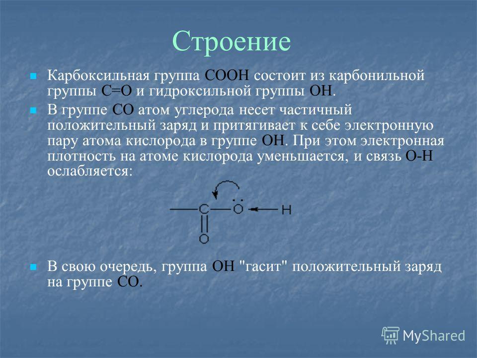 Строение Карбоксильная группа СООН состоит из карбонильной группы С=О и гидроксильной группы ОН. В группе СО атом углерода несет частичный положительный заряд и притягивает к себе электронную пару атома кислорода в группе ОН. При этом электронная пло