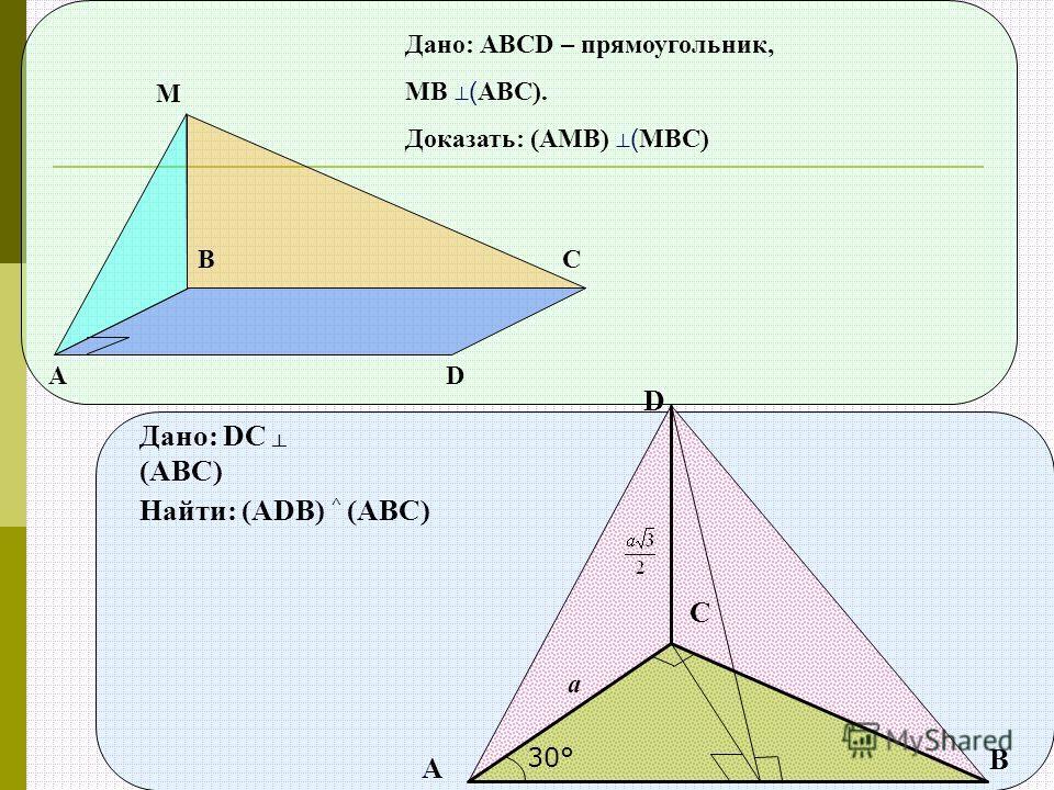 D Дано: DC (ABC) Найти: (ADB) ^ (ABC) A B C 30° a А ВС D М Дано: АВСD – прямоугольник, МВ ( АВС). Доказать: (АМВ) ( МВС)