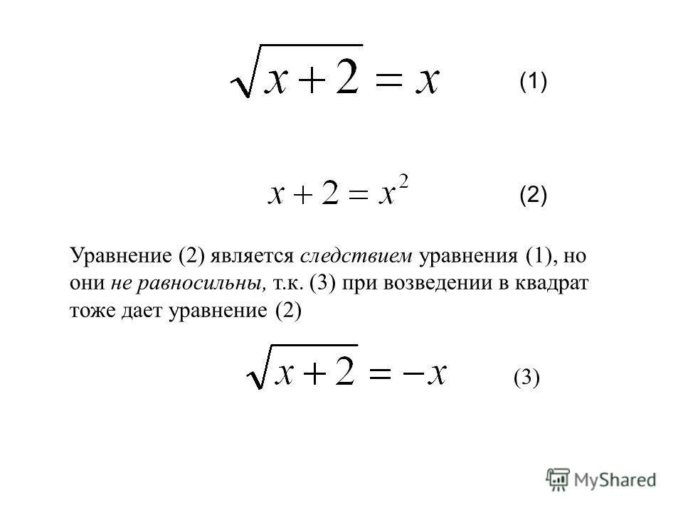 Уравнение (2) является следствием уравнения (1), но они не равносильны, т.к. (3) при возведении в квадрат тоже дает уравнение (2) (1) (2)(2) (3)