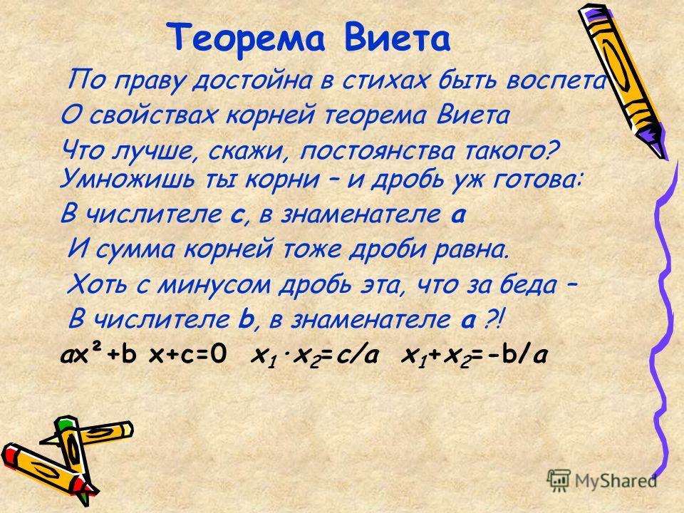Теорема Виета По праву достойна в стихах быть воспета О свойствах корней теорема Виета Что лучше, скажи, постоянства такого? Умножишь ты корни – и дробь уж готова: В числителе с, в знаменателе а И сумма корней тоже дроби равна. Хоть с минусом дробь э