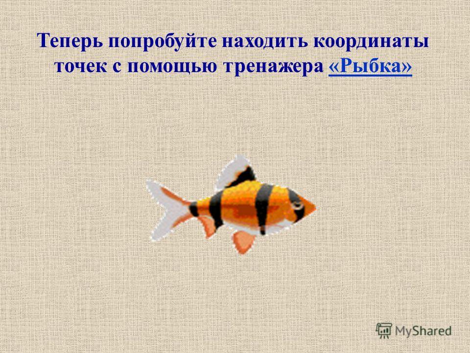 Теперь попробуйте находить координаты точек с помощью тренажера «Рыбка»«Рыбка»