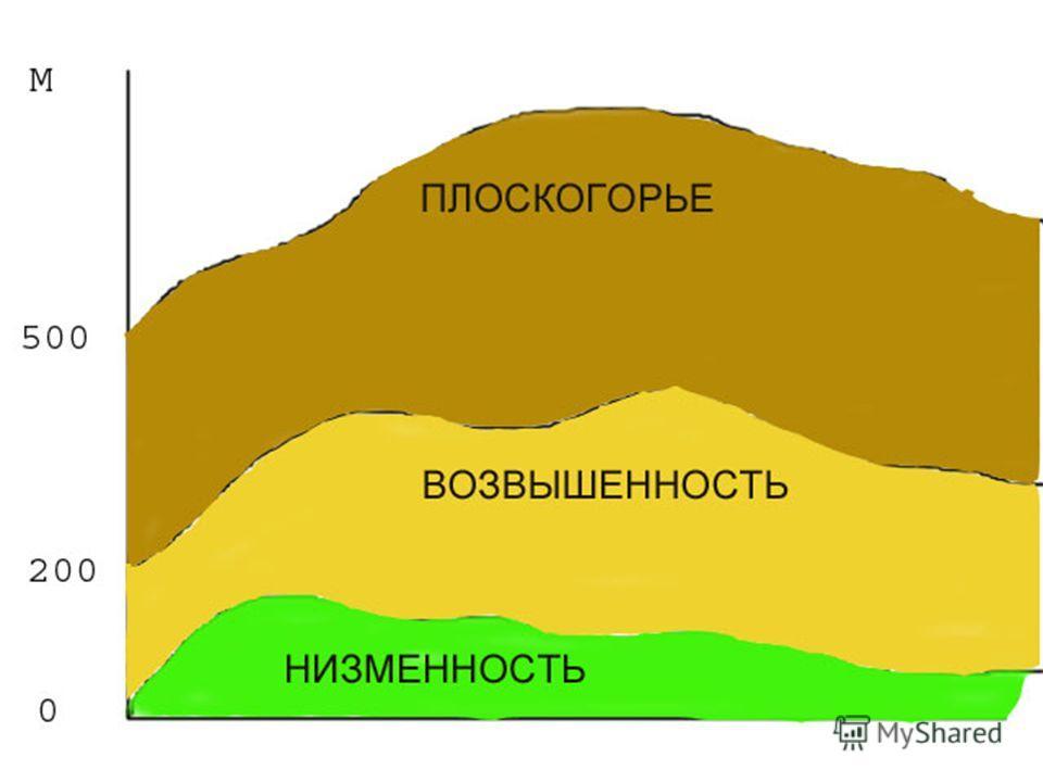 Равнины по высоте Низменность Не выше 200 м над уровнем моря Возвышенность От 200 до 500 м Плоскогорье Выше 500 м