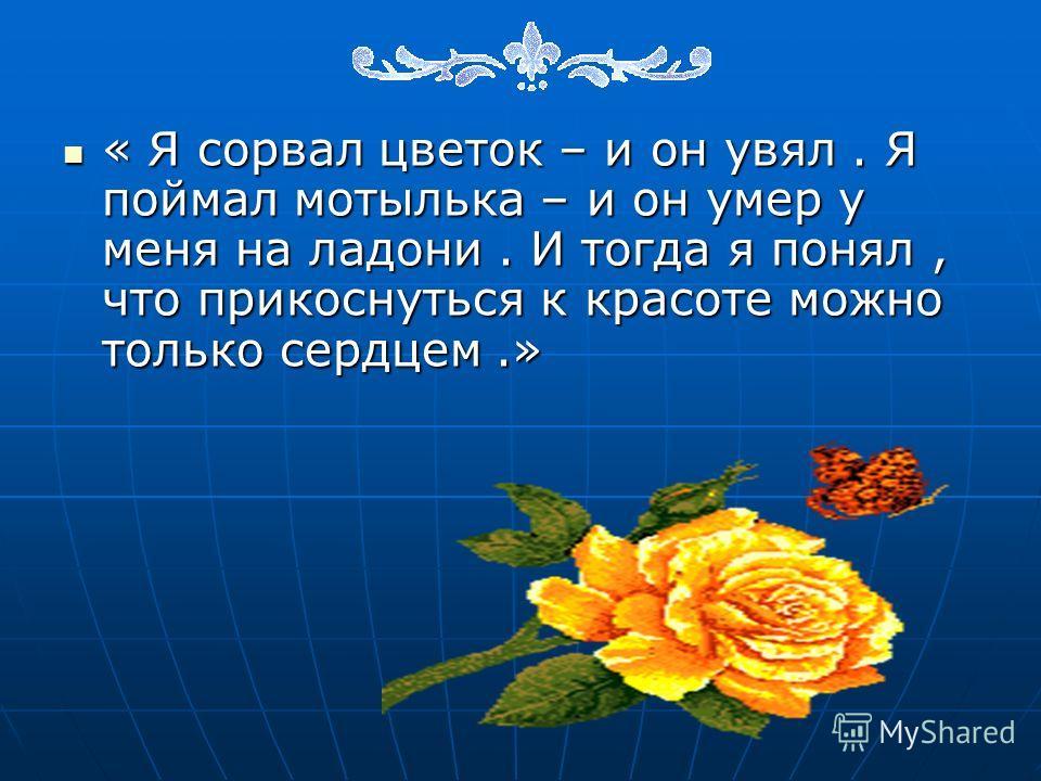 « Я сорвал цветок – и он увял. Я поймал мотылька – и он умер у меня на ладони. И тогда я понял, что прикоснуться к красоте можно только сердцем.»
