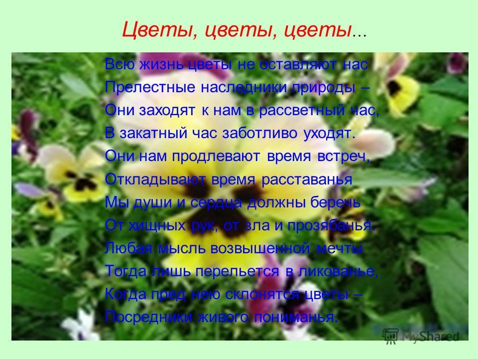Всю жизнь цветы не оставляют нас Прелестные наследники природы – Они заходят к нам в рассветный час, В закатный час заботливо уходят. Они нам продлевают время встреч, Откладывают время расставанья Мы души и сердца должны беречь От хищных рук, от зла