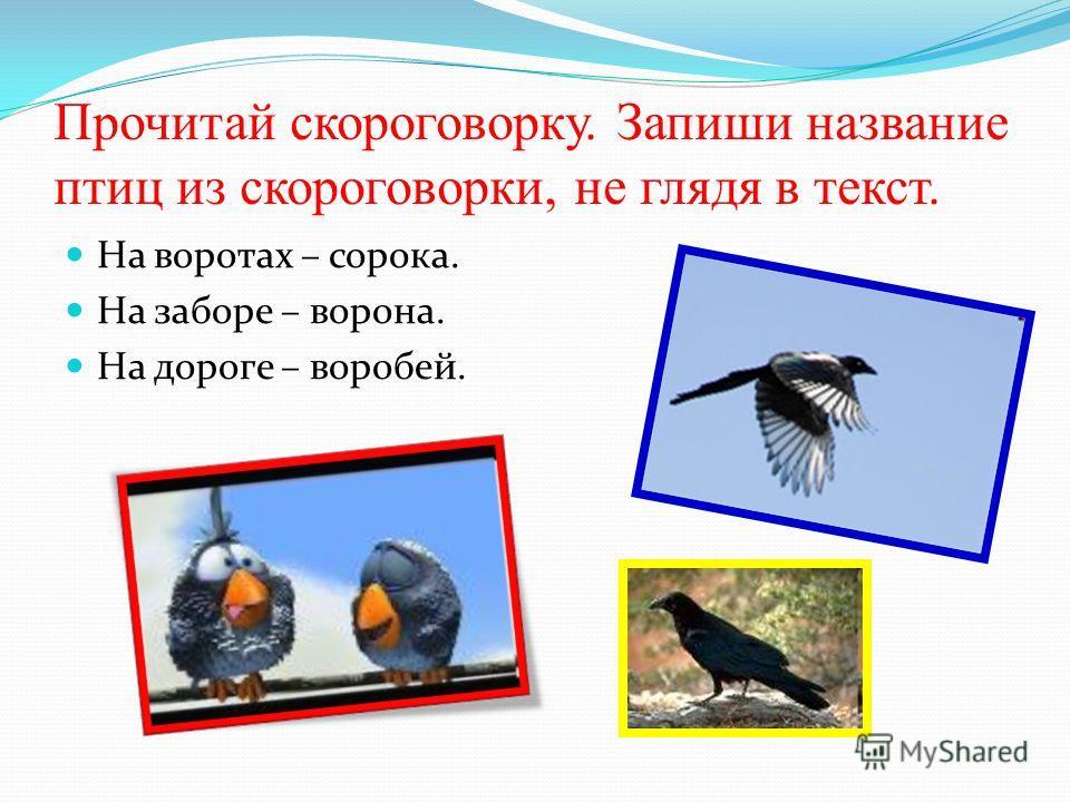 Прочитай скороговорку. Запиши название птиц из скороговорки, не глядя в текст. На воротах – сорока. На заборе – ворона. На дороге – воробей.