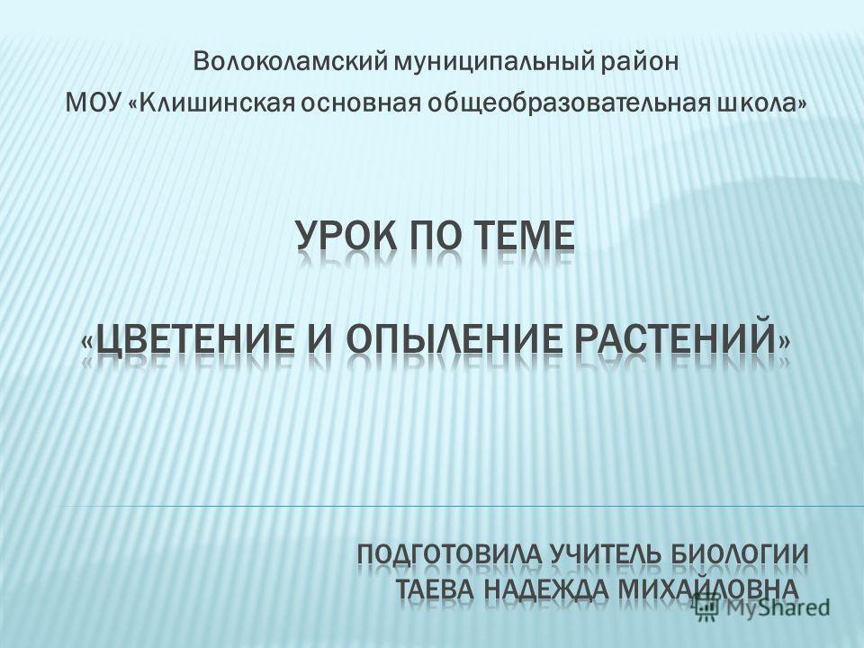 Волоколамский муниципальный район МОУ «Клишинская основная общеобразовательная школа»