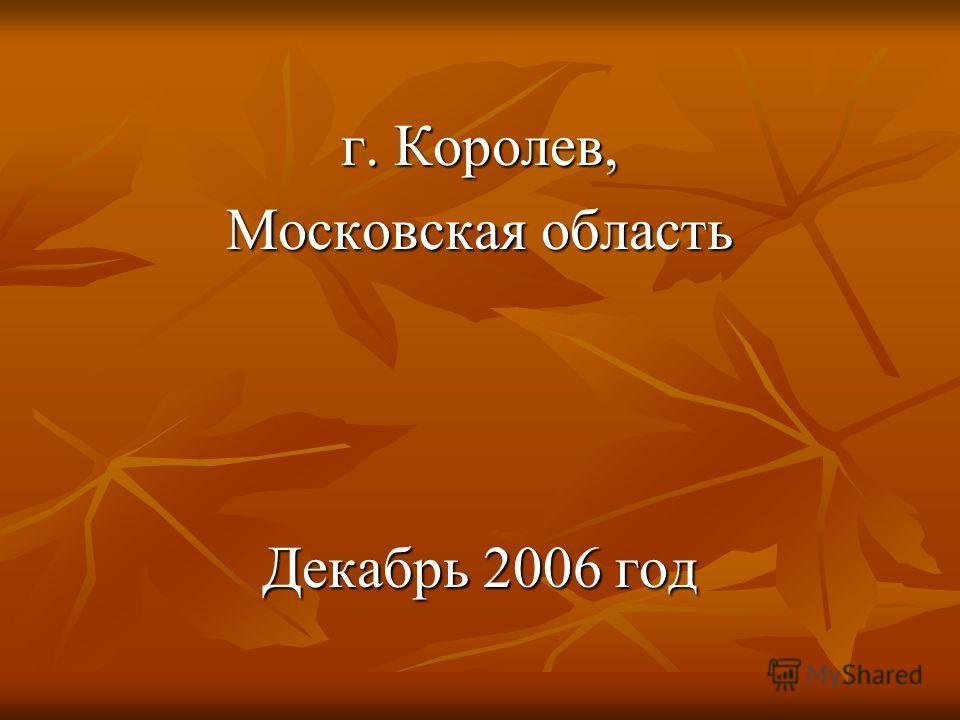 г. Королев, Московская область Декабрь 2006 год