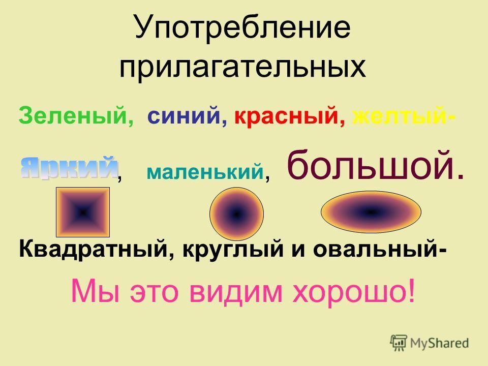 Употребление прилагательных Зеленый, синий, красный, желтый-, маленький, большой. Квадратный, круглый и овальный- Мы это видим хорошо!