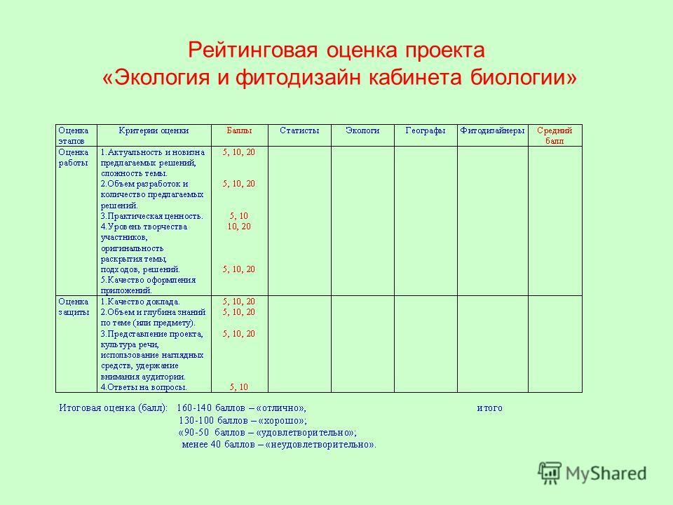 Рейтинговая оценка проекта «Экология и фитодизайн кабинета биологии»