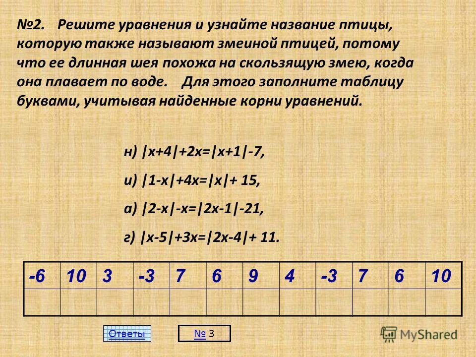 2. Решите уравнения и узнайте название птицы, которую также называют змеиной птицей, потому что ее длинная шея похожа на скользящую змею, когда она плавает по воде. Для этого заполните таблицу буквами, учитывая найденные корни уравнений. н) |х+4|+2х=