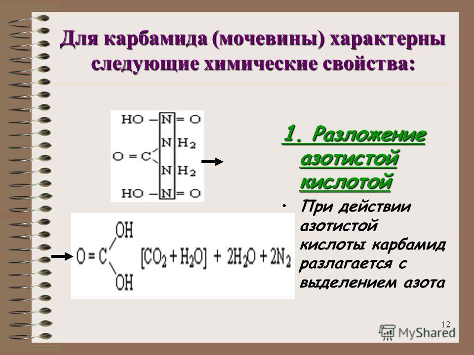 11 Мочевина (NH 2 ) 2 C=O – полный амид угольной кислоты Ф. Вёлером (1828 г.) Мочевина (карбамид) (NH 2 ) 2 C=O – полный амид угольной кислоты, впервые получен Ф. Вёлером (1828 г.) при выпаривании водного раствора цианата аммония Этот синтез сыграл в
