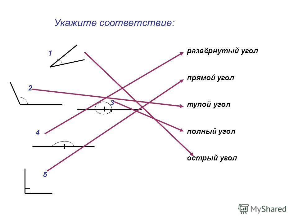 Укажите соответствие: 1 2 3 4 5 развёрнутый угол прямой угол тупой угол полный угол острый угол