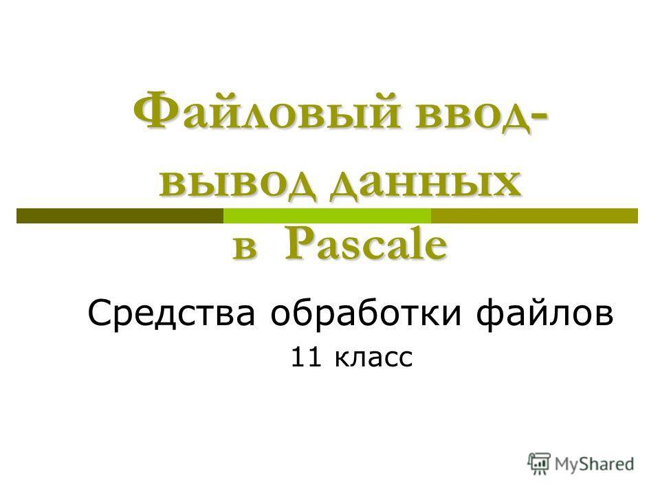 Файловый ввод- вывод данных в Pascalе Средства обработки файлов 11 класс