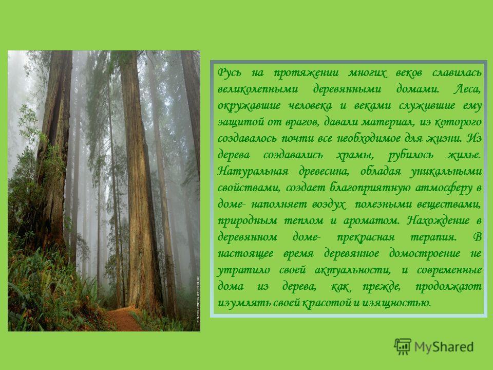 Русь на протяжении многих веков славилась великолепными деревянными домами. Леса, окружавшие человека и веками служившие ему защитой от врагов, давали материал, из которого создавалось почти все необходимое для жизни. Из дерева создавались храмы, руб