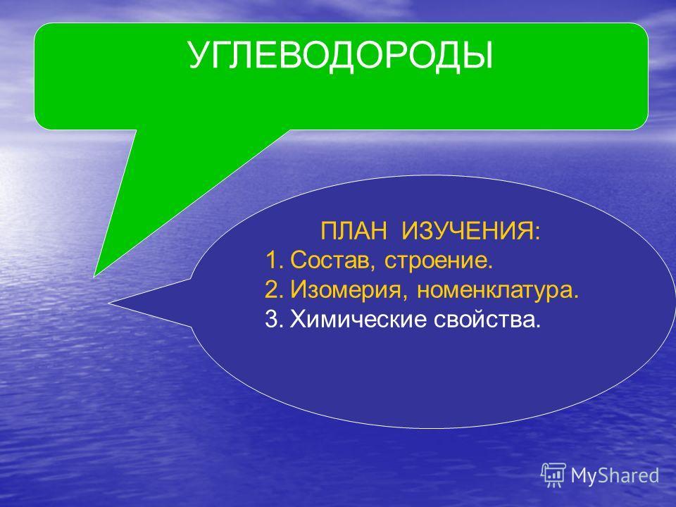 УГЛЕВОДОРОДЫ ПЛАН ИЗУЧЕНИЯ: 1.Состав, строение. 2.Изомерия, номенклатура. 3.Химические свойства.