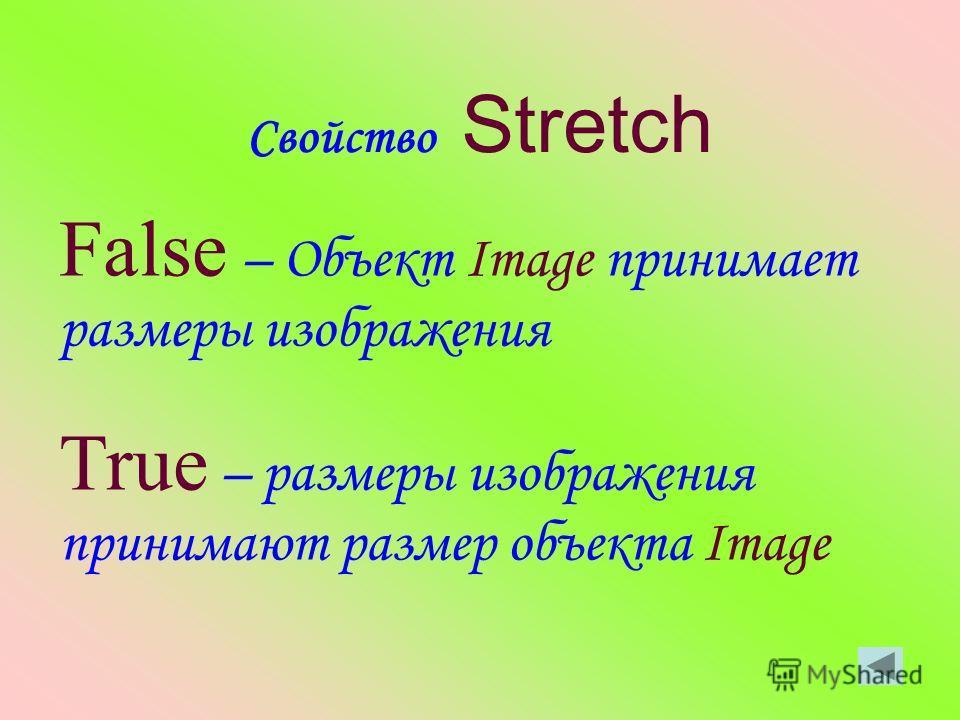 Свойство Stretch False – Объект Image принимает размеры изображения True – размеры изображения принимают размер объекта Image