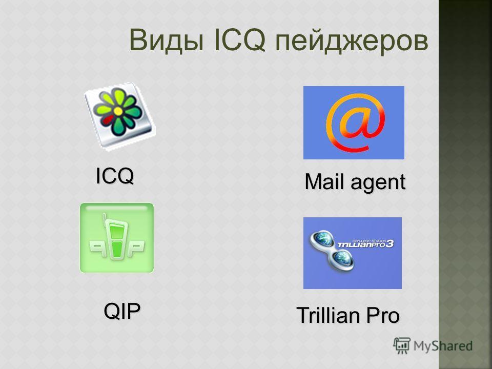 Виды ICQ пейджеров QIP Mail agent ICQ Trillian Pro