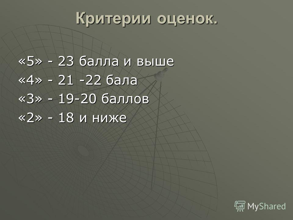 Критерии оценок. «5» - 23 балла и выше «4» - 21 -22 бала «3» - 19-20 баллов «2» - 18 и ниже