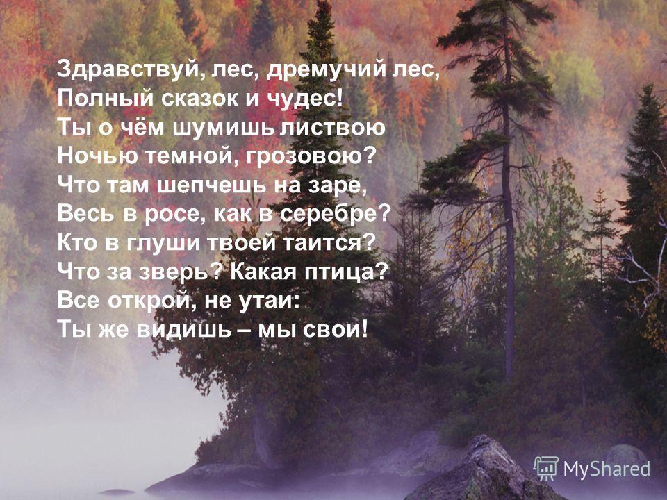 Здравствуй, лес, дремучий лес, Полный сказок и чудес! Ты о чём шумишь листвою Ночью темной, грозовою? Что там шепчешь на заре, Весь в росе, как в серебре? Кто в глуши твоей таится? Что за зверь? Какая птица? Все открой, не утаи: Ты же видишь – мы сво