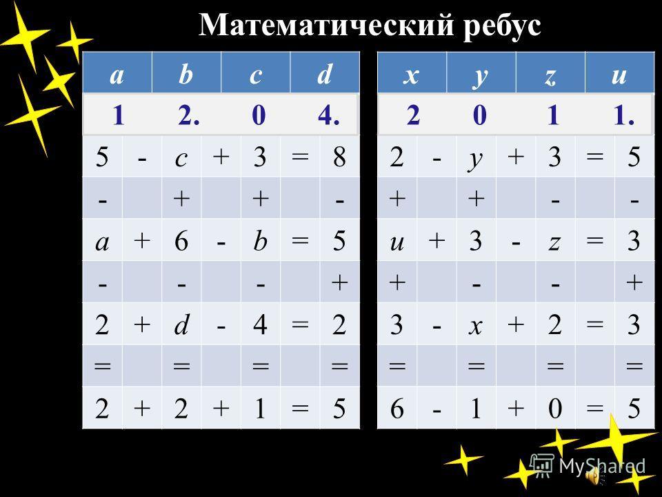 Математический ребус abcd 5-c+3=8 -++- a+6-b=5 ---+ 2+d-4=2 ==== 2+2+1=5 xyzu 2-y+3=5 ++-- u+3-z=3 +--+ 3-x+2=3 ==== 6-1+0=5 1 2. 0 4. 2 0 1 1.