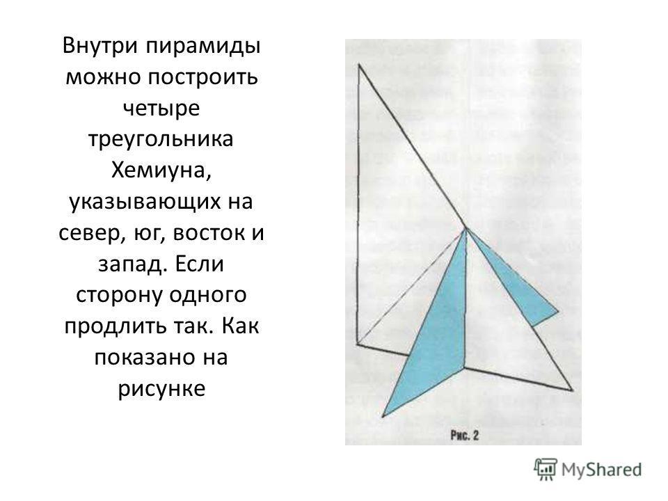 Внутри пирамиды можно построить четыре треугольника Хемиуна, указывающих на север, юг, восток и запад. Если сторону одного продлить так. Как показано на рисунке